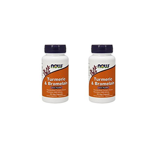 Now Foods Turmeric and Bromelain Veg Capsules,90 Count-2 Pack