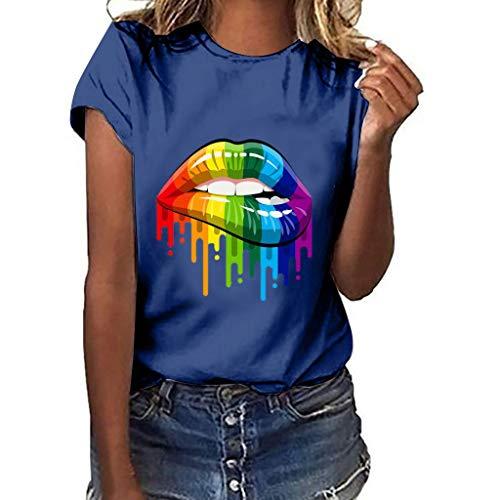 - Women Plus Size Lips Gesture Print Short Sleeve T-Shirt Tops