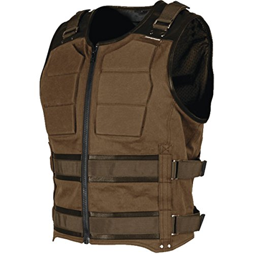 Speed and Strength True Grit Armored Men's MX Motorcycle Vest - Brown (Brown Leather Motorcycle Vest)