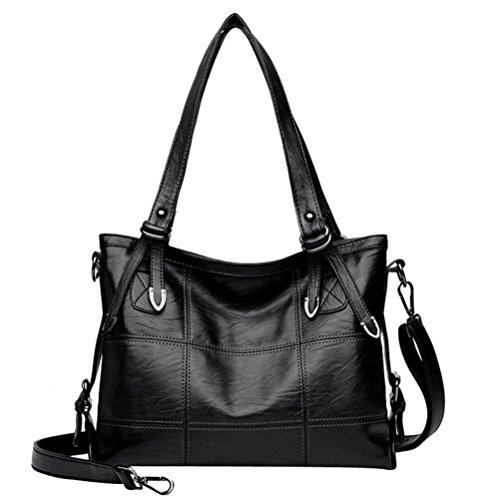 Bolso de mano con bandolera,Morwind bolso grande mochila de piel bolso de hombro tote bolso shopper PU cuero bolso bandolera tote (35x26x11.5cm) Negro