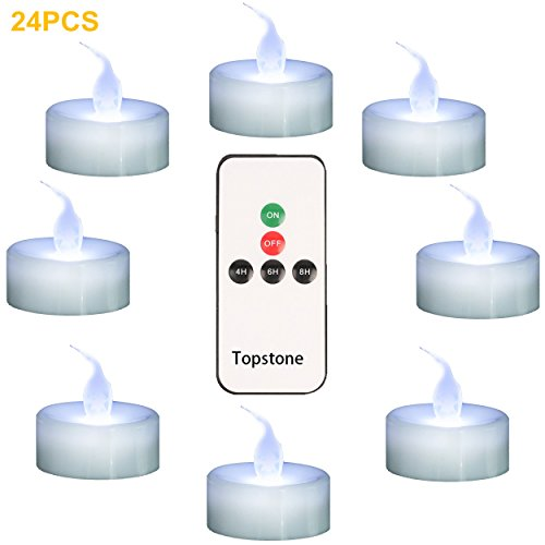 Topstone Battery Powered Flamless Tealight Candles,With 4H 6H 8H Timer and Remote Control ,Pack of 24 (White)
