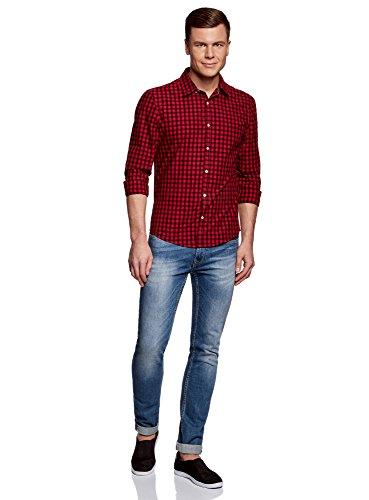 Fit A Oodji Camicia 2945c Ultra Quadri Slim Uomo Rosso qrwEwUXI