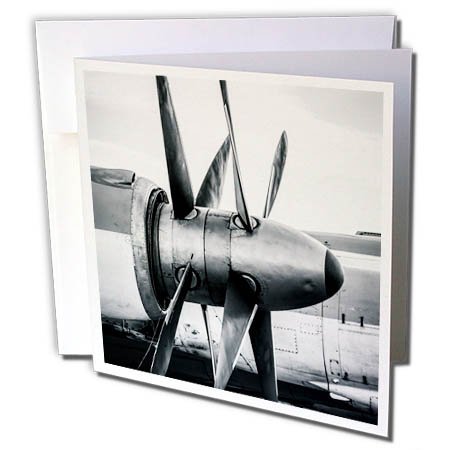 3dRose Alexis Photography - Abstracts of Aviation - Twin propellers of a vintage turboprop aircraft in black and white - 1 Greeting Card with envelope (gc_272037_5) (1 White 1 Black Twin Twin)