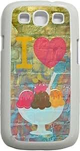 I Love Ice Cream--Pastel Ice-Cream Background-Wall-Art-Street-Art- Case for the Samsung Galaxy S III-S3- Hard White Plastic Snap On Case wangjiang maoyi