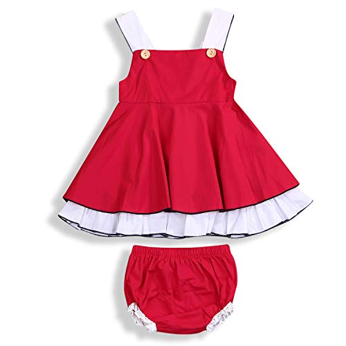 Newborn Infant Baby Girl Summer Short Pants Set Dress + Tutu Pants Kids Short Clothes (Red, 2T/3T)]()