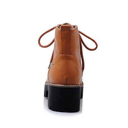 BalaMasa Womens Bandage Studded Rivet Platform Imitated Leather Boots Yellow 8JizgJj