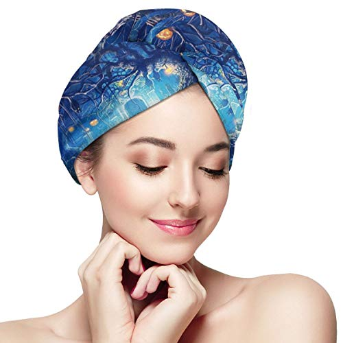 Star Forest Halloween Microfiber Absorbent Dry Hair Cap Bath Spa Towel Hair Towel Wrap Turban Fast Head Towel with Buttons for Girl Quick Dry Magic Hats ()
