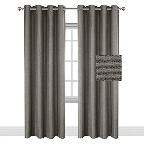 Wide Blackout Room Darkening Rich Quality of Linen Textured Curtains Home Fashion Ultra Sleep Window Panels Grommet Drapes -Taupe Gray - 52 inch Wide by 96 inch Long