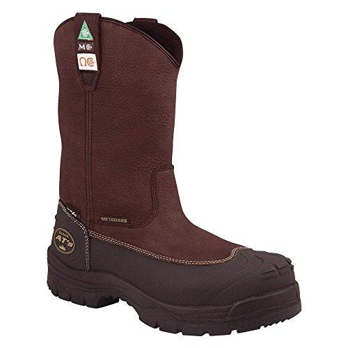 Work Boots, Brwn, 10inH, 15Sz, WtrRsistnt, PR