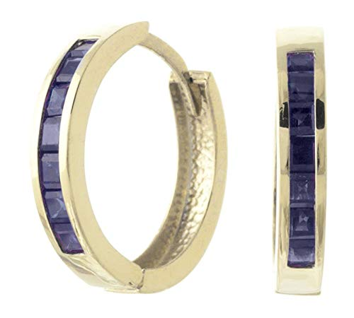 14k Yellow Gold Hoop Huggie Earring with Sapphires ()