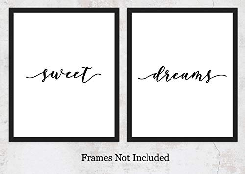 Dreams Sweet Print (Sweet Dreams Typography Art Prints: Unique Bedroom Decor - Set of Two (8x10) Unframed Pictures - Great Wall Art Gift Idea)