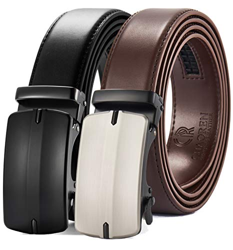 Ratchet Click Belt 2 Packs with Sliding Buckle 1 3/8