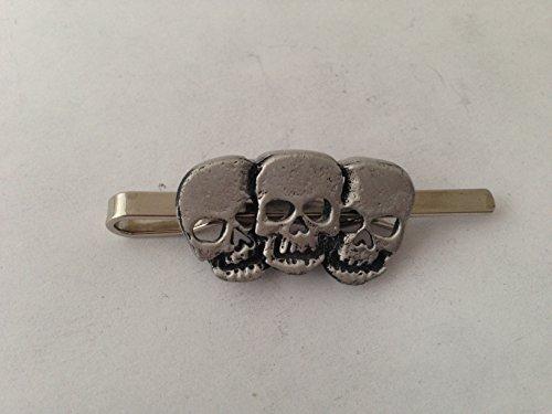 Triple Crânes refj19English Pewter emblème sur une pince à cravate (diapositive) par SB