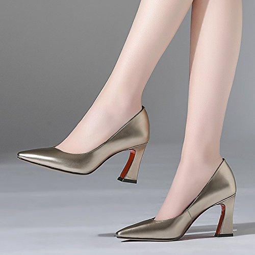 Jqdyl High Heels Damen Einzel Schuhe Grobe Fersen High Heels Damen Einzel Schuhe Mode Damenschuhe
