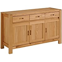 Parisot 0603E3PT Ethan Solid Oak Sideboard with 3 Doors and 3 Drawers