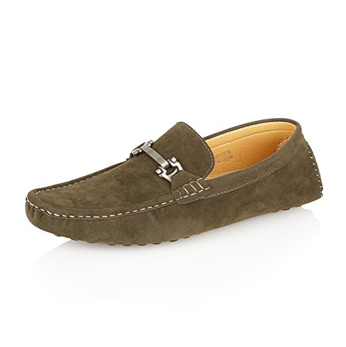 Mens Designer Inspired Loafers Moccasins Slip ons Shoes Size Olive Green Suede (Style-2) hw7NO