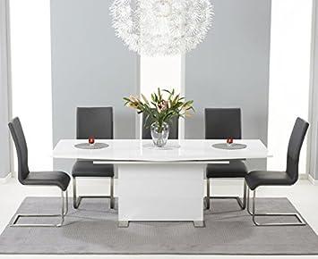 Oak Furniture House Murcia High Gloss 6 Seater Extending Dining