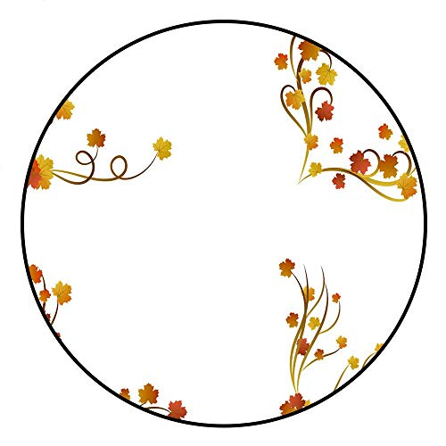Hua Wu Chou Round Rug mat Non slipround Gym mat D2'6/0.8m Autumn Maple Leaves Page Borders Set (Page Borders Autumn)