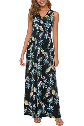Exclusive Sleeveless Dress - Women Sleeveless Maxi Dress V Neck Floral Maxi Long Dress (Black/Yellow, X-Large)