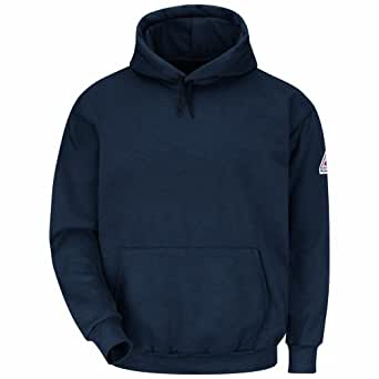 Bulwark Flame Resistant 11 oz Modacrylic Fleece Pullover Hooded Sweatshirt, Navy, Small
