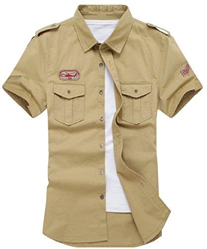 (アルファーフープ) α-HOOP メンズ カーゴ アウター ミリタリー 半袖 ボタン シャツ カットソー ジャケット 上着 QP-5