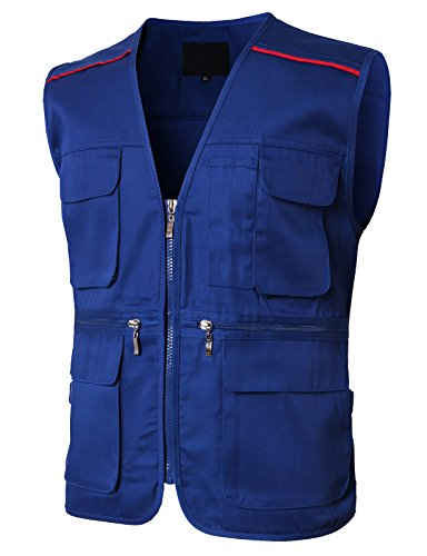 Review H2H Men Mesh Multi Pockets Fishing Vest Photography Vests Blue US L/Asia XL (KMOV0145)