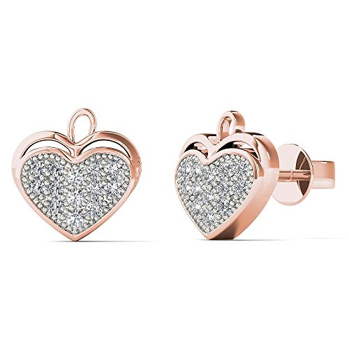 JewelAngel Women's 10K Rose Gold 1/8 Carat TWD Diamond Heart Leaf Stud Earrings (H-I, I1-I2) ()