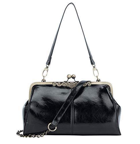 Micom New Small Retro Vintage Kiss Lock Imitation Leather Purse Handbag Totes Bag for Women,girls (Black1)