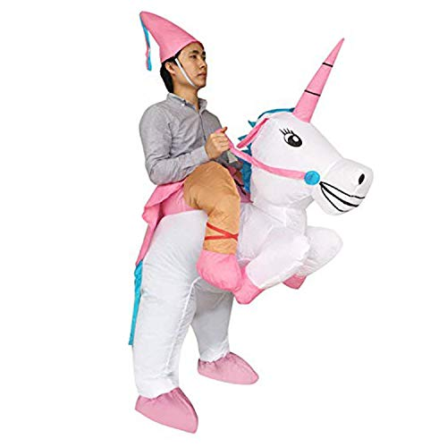 Seasonblow Adult Inflatable Ride Unicorn Party Dress Halloween Suit Fancy Costume White ()