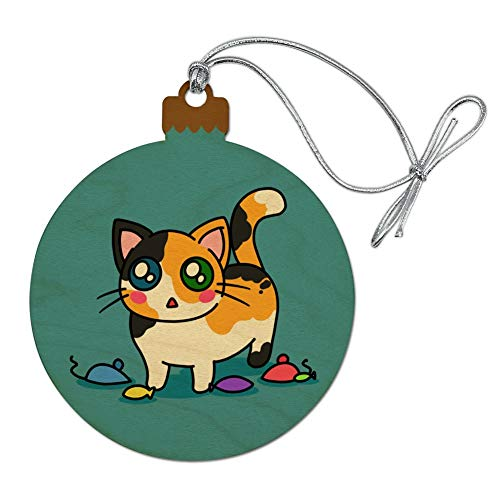 GRAPHICS & MORE Calico Kitten with Cat Toys Wood Christmas Tree Holiday Ornament