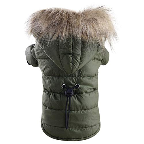 BingYELH Pet Snowsuit Windproof Faux Fur Puppy Parka Coat Adjustable Dog Winter Jacket with Hood Dog Warm Outwear Dog