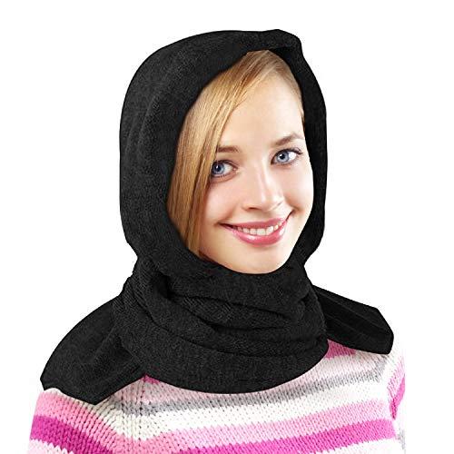 35 Below Marled Hooded Scarf, Fleece Lining - Head Scarf/Winter Scarf - Black