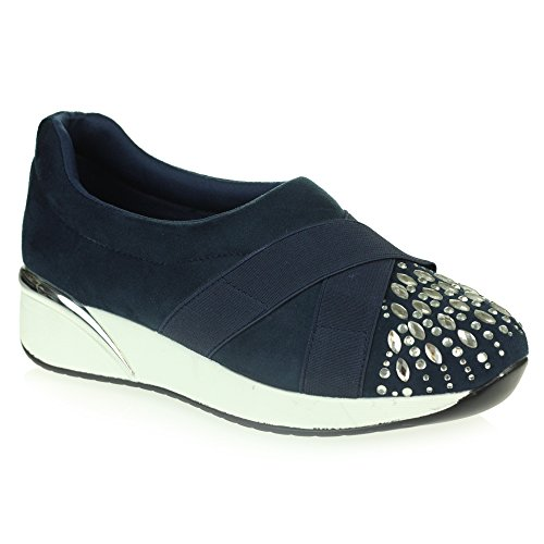 AARZ LONDON Womens Ladies Diamante Memory Foam Lightweight Comfort Easy Walking Gym Trainers Casual Shoes Size Navy