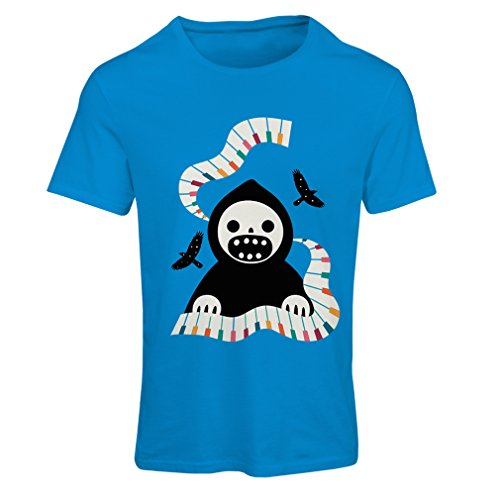 T Shirts for Women Halloween Horror Nights - The Death is Playing on Piano - Cool Scarry Design (Medium Blue Multi Color) -