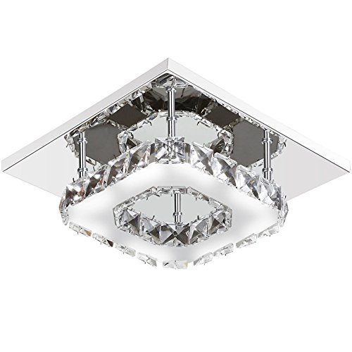 Goeco Mini Modern Crystal Chandelier Square Ceiling Lamp Stainless Steel LED Light for Bedroom, Bathroom, Dining room,8.3×8.3In,12W