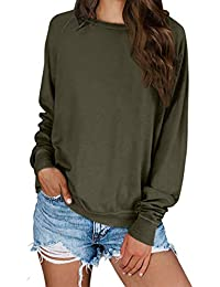 2019 Women's Solid Sporty Sweatshirt Crew Neck Long Sleeves Pullover Ribbed Cuffs Hems Sweaters Outwear