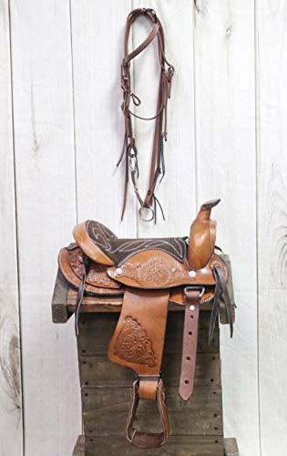 M-Royal 10″ Pony Brown Leather Saddle Kids Pony Bridle Reins Bit Set