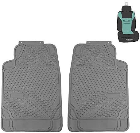 FH Group F11309 Heavy Duty Trimmable Rubber All Weather Floor Mats (Gray) Front Set w. Gift – Universal Fit for Cars Trucks and SUVs