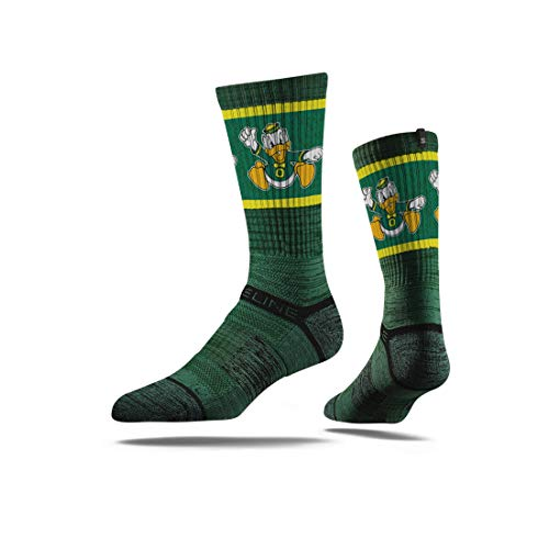 Strideline NCAA Oregon Ducks Premium Athletic Crew Socks, One Size, Green