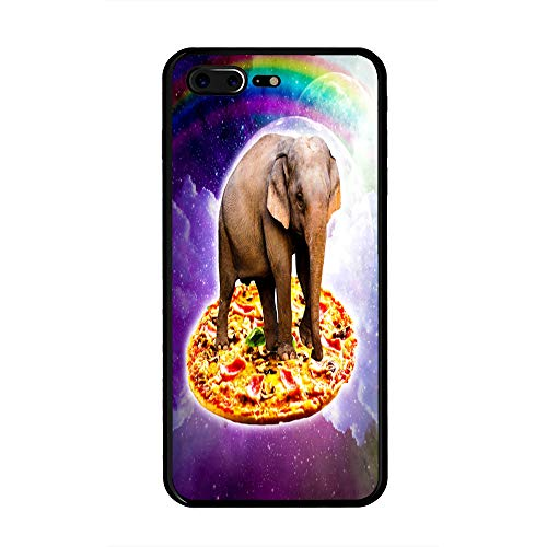 The Mass iPhone 7/8 Plus Case,Tempered Glass Back and Shockproof Bumper Cover for iPhone 7/8 Plus (Elephant Riding Pizza in Space)
