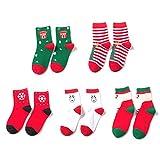 5 Pairs Lovely Children Cartoon Christmas Printed Socks Kids Mid Calf High Socks Comfortable Socks...