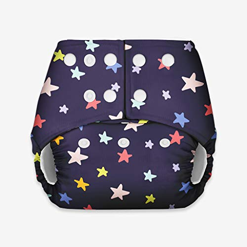 superbottoms Soft Fleece Lined Pocket Diaper with 1 Wet-free Insert with Snaps (Blackstar)