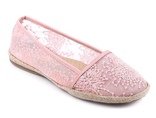 Moda Casual Slip On Solo Pizzo Stile Carino Donne Strette Ballerine Scarpe Nuove Senza Scatola Rosa