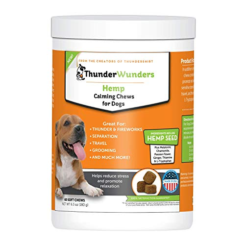 - ThunderWunders Hemp Dog Calming Chews - Anxiety Supplement Hemp Seed Oil, Thiamine, L-Tryptophan, Melatonin Ginger - Relieve Stress From Separation, Storms, Fireworks & Travel (60 Count)