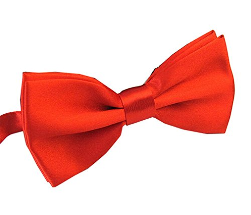 Men's Pre Tied Bow Ties for Wedding Party Fancy Plain Adjustable Bowties Necktie (Red)]()