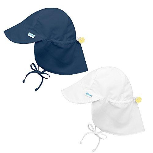 I Play Solid Sun Hat - i play. 2PK UPF 50+ Sun Protection Flap Sun Hats Baseball Brim Hat-2T-4T-White