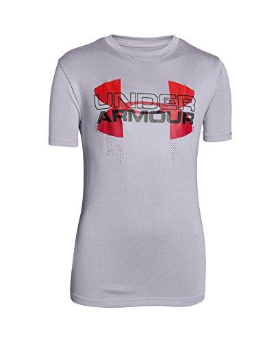 Under Armour Boys' UA Tech Big Logo Hybrid T-Shirt Small / 8 Big Kids CLOUD GRAY