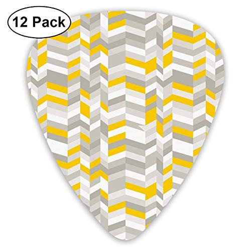 Celluloid Guitar Picks - 12 Pack,Abstract Art Colorful Designs,Geometric Vintage 60s Home Pattern Inspired Herringbone Zig Zag Lines,For Bass Electric & Acoustic Guitars.