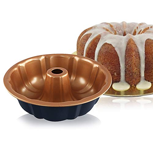 Non Stick 9 inch Bundt Cake Pan Fluted Cake Pan Nonstick Bakeware Baking Pan copper infused Molds for Cakes- (Blue - Round Diamond Bundform Pan))