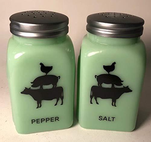 Jadeite Arched Pattern Salt & Pepper Shaker Set - Imported (Stacked Farm Animals)